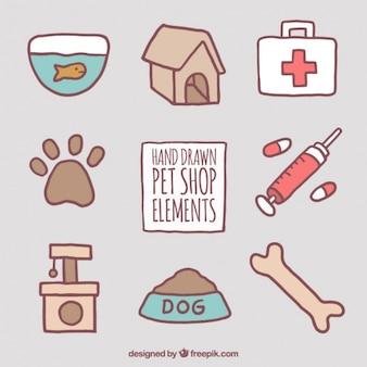 Verschillende hand getekende accessoires voor huisdieren