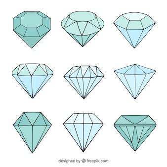 Verschillende hand getekende diamanten