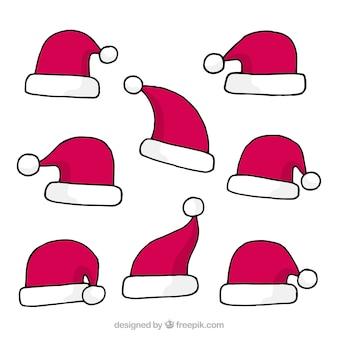 Verschillende handgetekende kerstmutsjes