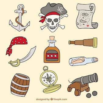 Verschillende handgetekende piratenelementen