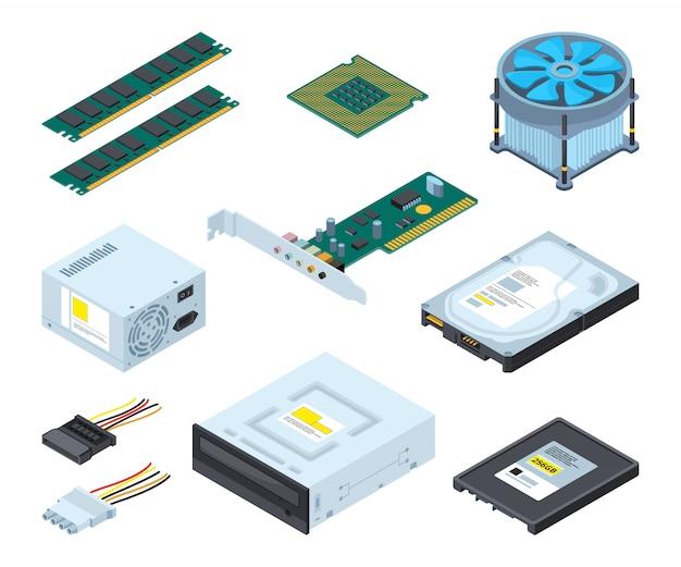 Verschillende hardwaredelen en componenten van personal computer.