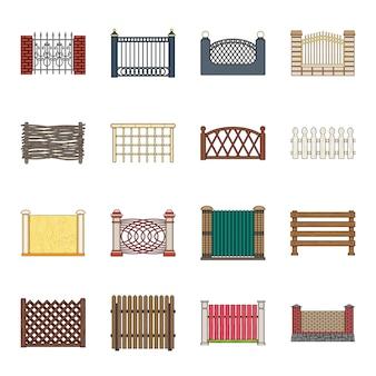 Verschillende hek cartoon elementen in set collectie voor design.