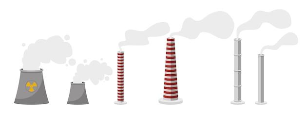 Verschillende het ontwerpillustratie van de fabrieksschoorsteen die op witte achtergrond wordt geïsoleerd