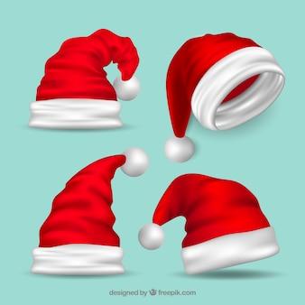 Verschillende hoeden van kerstman