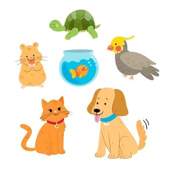 Verschillende huisdieren concept