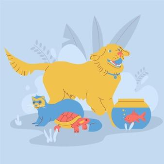 Verschillende huisdieren die samen spelen