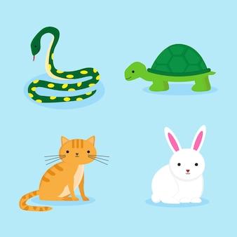 Verschillende huisdieren geïsoleerd op blauw behang