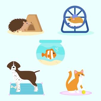 Verschillende huisdieren illustratie set