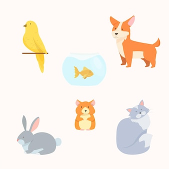 Verschillende huisdieren ingesteld