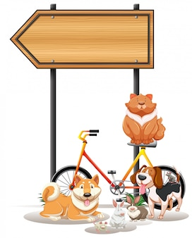 Verschillende huisdieren onder het bord