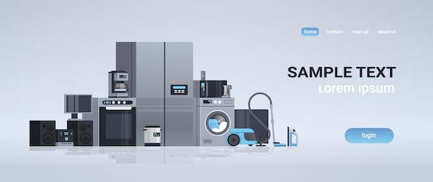 Verschillende huishoudelijke apparaten kit instellen elektrische huis apparatuur collectie vlakke horizontale kopie ruimte