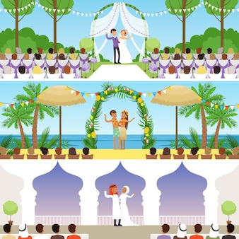 Verschillende huwelijksceremonies set, traditionele, exotische tropische strand en moslim bruiloften vector illustraties, webdesign