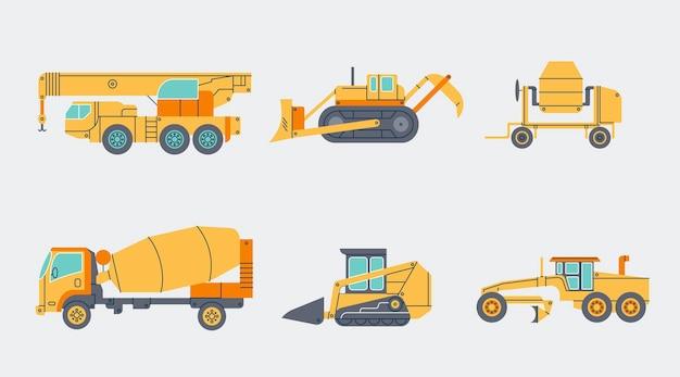 Verschillende industriële voertuigen in plat ontwerp