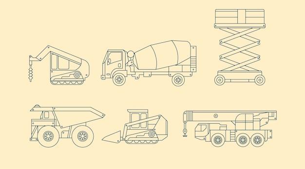 Verschillende industriële voertuigen in schetsontwerp