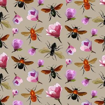 Verschillende insecten en planten patroon