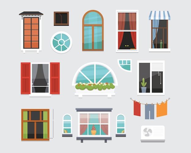 Verschillende interieur windows van verschillende vormen illustratie. architectuurontwerp buiten- of buitenaanzicht, gebouw- en woningthema