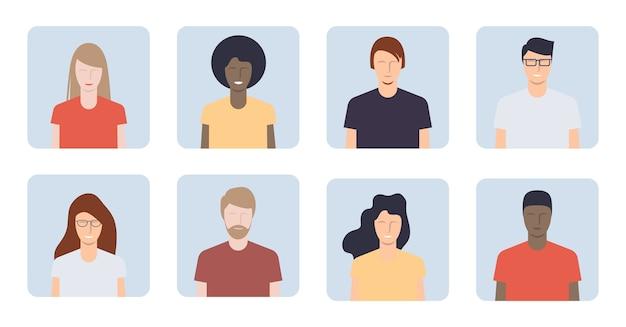 Verschillende jonge mensenportretten. avatars voor jongens en meisjes. illustratie