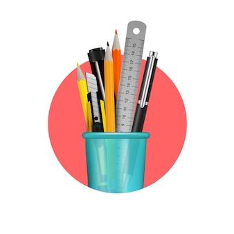 Verschillende kantoorbehoeftenpunten in blauwe plastic glassamenstelling in rode cirkel op witte realistische vectorillustratie als achtergrond