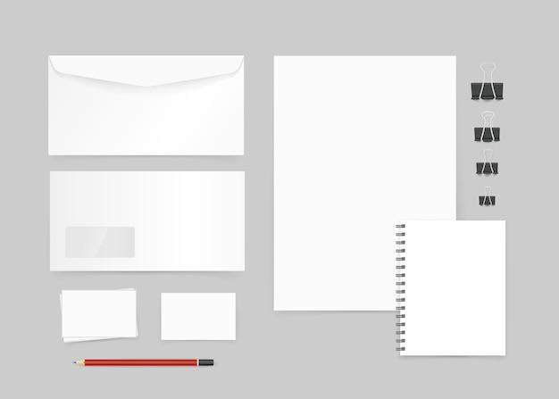 Verschillende kantoorobjecten voor branding mockup. identiteitssjabloon