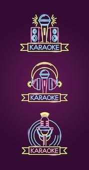 Verschillende karaokes in neonstijl met microfoon over paars