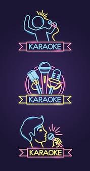 Verschillende karaokes in neonstijl met zanger en microfoon over paars