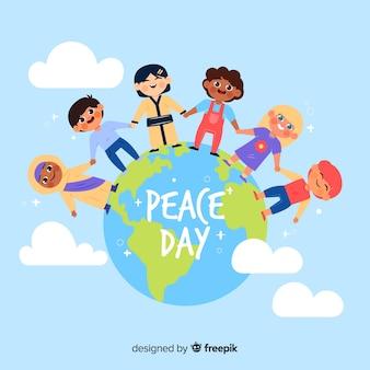 Verschillende kinderen hand in hand over de hele wereld