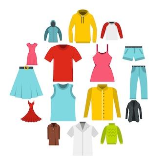 Verschillende kleding set plat pictogrammen