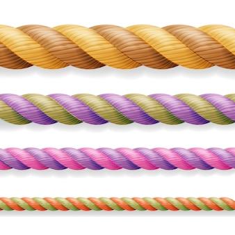 Verschillende kleurdikte 3d touw lijn ingesteld