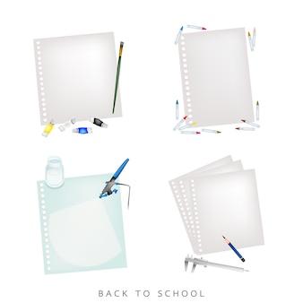 Verschillende kleuren en potloden met blanco spiraalpapier