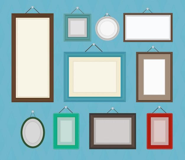 Verschillende kleuren lege fotolijst sjabloon collectie set.