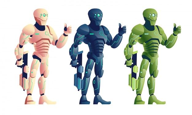 Verschillende kleuren, toekomstige cyborg krijgers, soldaten in futuristische wapenuitrusting, buitenaardse legerrobot