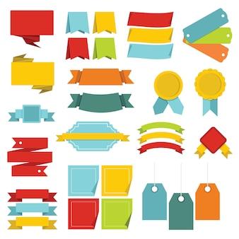Verschillende kleurrijke geplaatste etikettenpictogrammen, vlakke stijl