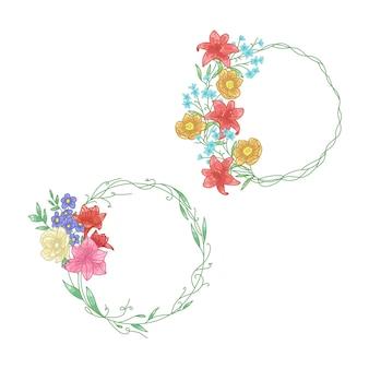 Verschillende kleurrijke handgetekende flora ronde frames voor logo-ontwerp en decoratieve kalligrafie
