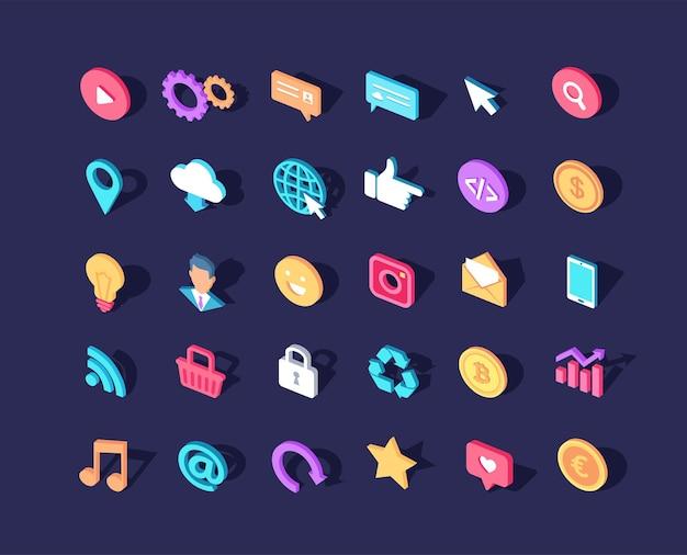 Verschillende kleurrijke isometrische pictogrammen instellen voor website