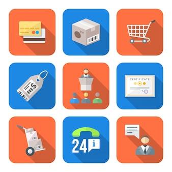 Verschillende kleurrijke vlakke stijl zakelijke distributie marketing proces pictogrammen instellen