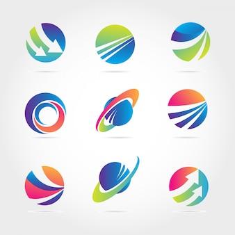 Verschillende kleurrijke wereldbol logo collectie