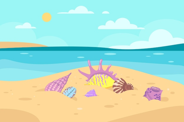 Verschillende kleurrijke zeeschelpen op kustillustratie