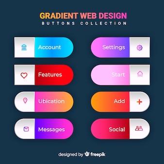 Verschillende knoppen voor het web in verloopstijl