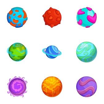 Verschillende komische planeten iconen set, cartoon stijl