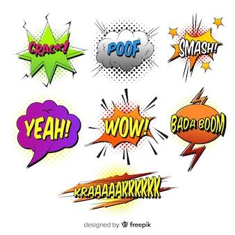 Verschillende komische tekstballon