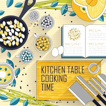 Verschillende kookmaterialen op de keukentafel in lijnstijl