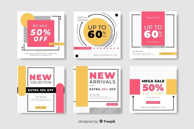 Verschillende kortingen kleurrijke abstracte verkoop instagram postinzameling