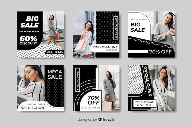 Verschillende kortingen mode verkoop instagram post collectie