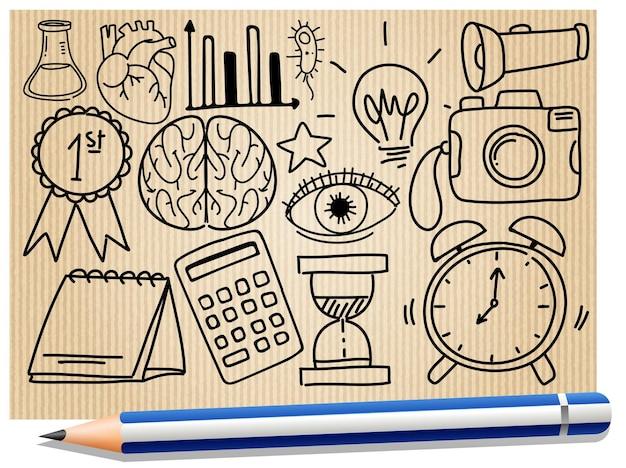 Verschillende krabbelslagen over schoolbenodigdheden op papier met een potlood