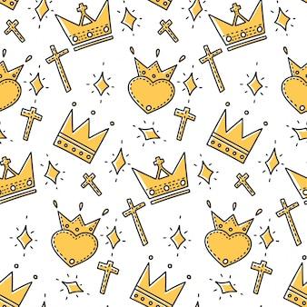 Verschillende kronen in doodle en schetsstijl.