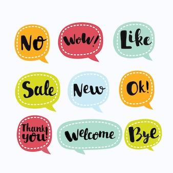 Verschillende labels in soortgelijke nuttige symbolen in spraakbubbe