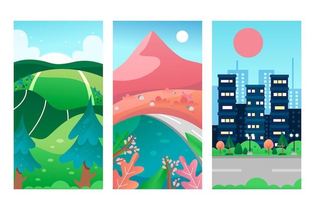 Verschillende landschap illustratie pack