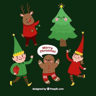 Verschillende leuke kerstpersonages