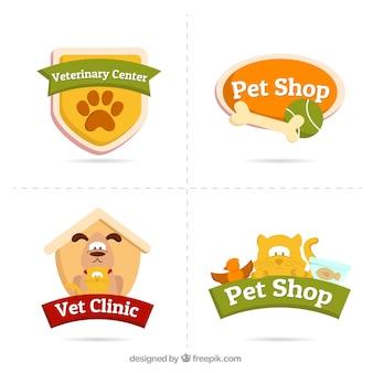 Verschillende logo's met dieren en accessoires