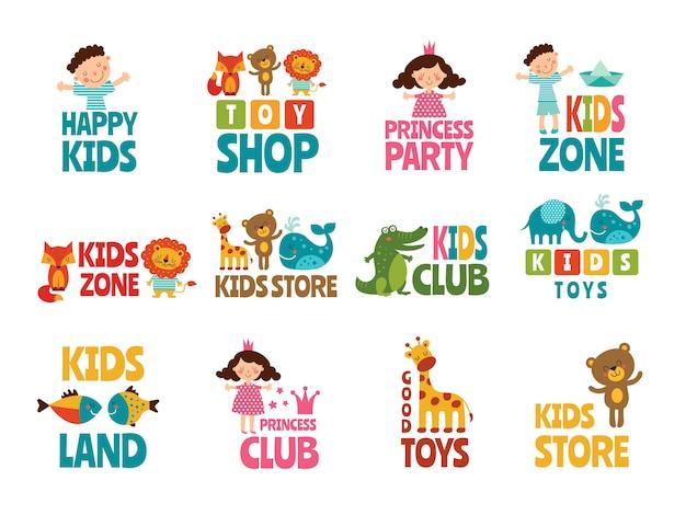 Verschillende logo's voor kinderen met grappige gekleurde illustraties
